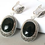 FREE SHIPPING>>> Fashion 925 <b>Sterling</b> <b>Silver</b> Natural Green Sand Stone Marcasite Dangle <b>Earrings</b>