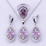 Charismatic Multicolor Imitation Multigem 925 <b>Sterling</b> <b>Silver</b> Jewelry Sets For Women Bridal Wedding Fashion Jewelry J0030