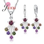 JEXXI Fashion 925 <b>Sterling</b> <b>Silver</b> Engagement Jewelry Set Star Pendant Necklace <b>Earrings</b> With Colorful CZ Crystal
