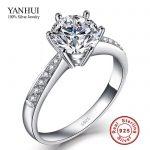 Promotion YANHUI Fine Jewelry Genuine 100% 925 <b>Sterling</b> <b>Silver</b> <b>Rings</b> for Women Luxury 1 Carat CZ Diamant Engagement <b>Ring</b> JZR031