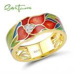 SANTUZZA <b>Silver</b> <b>Ring</b> For Women 925 <b>Sterling</b> <b>Silver</b> Exquisite Flower Gold Color Brilliant Cubic Zirconia <b>Ring</b> Chic Jewelry Enamel