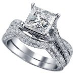 Size 4-12 925 <b>Sterling</b> <b>Silver</b> Princess Cut Stone Crystal Gems Wedding Engagement <b>Ring</b> Band Promise Statement Mother's Day Gifts