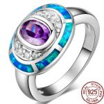 Aceworks Colorful Opals Gem 100% 925 <b>Sterling</b> <b>Silver</b> Metal Blue <b>Rings</b> Fine Jewelry Crystal Oval Designer Women Bohemia Party
