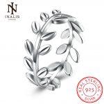 INALIS Real 100% 925 <b>Sterling</b> <b>Silver</b> Leaf <b>Ring</b> Branches <b>Rings</b> Jewelry Gift