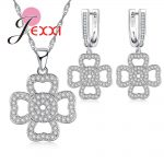 JEXXI New Fashion Hollow Flower Jewelry 925 <b>Sterling</b> <b>Silver</b> CZ Crystal Pendant Necklace Dangle <b>Earrings</b> Sets Trendy Women Bijoux