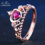 LAMOON 925 <b>Sterling</b> <b>Silver</b> Jewelry Princess Crown <b>Rings</b> Real Ruby Mosaic Natural Gemstone Luxury Wedding Fashion Women <b>Ring</b> 2017
