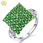 Hutang 3.43ct Natural Chrome Diopside & White Topaz Solid 925 <b>Sterling</b> <b>Silver</b> <b>Ring</b> Women's Gemstone Fine Jewelry 2017 New