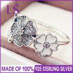 LS High Quality 100% Real 925 <b>Sterling</b> <b>Silver</b> Shimmering Bouquet <b>Ring</b> For Women DIY Fashion <b>Rings</b> 100% Fine Jewelry H