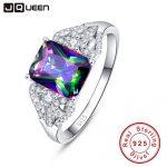 Hot Emerald Cut 3ct Natural Mystic Fire Rainbow Topaz Engagement Wedding <b>Ring</b> Genuine 925 <b>Sterling</b> <b>Silver</b> <b>Rings</b> for Women