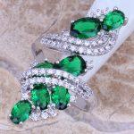 Attractive Green Cubic Zirconia White CZ 925 <b>Sterling</b> <b>Silver</b> <b>Ring</b> Size 5 / 6 / 7 / 8 / 9 / 10 / 11 / 12 S0221