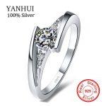 Big Hot Sale!!! YANHUI 100% Pure 925 <b>Sterling</b> <b>Silver</b> <b>Ring</b> Set Luxury 0.75 Carat CZ Diamant Wedding <b>Rings</b> for Women R5036