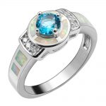 Simulated Aquamarine With White Fire Opal 925 <b>Sterling</b> <b>Silver</b> <b>Ring</b> For Woman Size 6 7 8 9 10 R1555