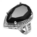 Huge Black onyx With Multi White Crystal Zircon 925 <b>Sterling</b> <b>Silver</b> <b>Ring</b> Factory price For Women Size 6 7 8 9 10 11 F1503