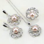 Flower <b>Sterling</b> <b>Silver</b> 925 Cute Pink Imitation Pearl White Zircon Jewelry Set For Women Wedding Earrings/<b>Ring</b>/Pendant/Necklace