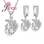JEXXI Lovely Elegant Peacock Pendant Necklace <b>Earring</b> Set High-Grade 925 <b>Sterling</b> <b>Silver</b> Jewelry Set for Women Clear CZ Zircon B
