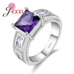 JEXXI 925 <b>Sterling</b> <b>Silver</b> Party <b>Rings</b> For Women Fashion Cubic Zircon Crystal Wedding Engagement <b>Rings</b> Jewelry 5Colros