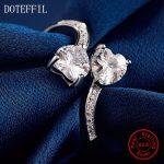 Woman 100% <b>Sterling</b> <b>Silver</b> Heart <b>Rings</b> Fashion Charm AAA Zircon Heart <b>Rings</b> Woman Jewelry