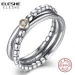 ELESHE Engagement Wedding Accessories Cubic Zirconia Twist <b>Ring</b> & <b>Ring</b> Sets 925 <b>Sterling</b> <b>Silver</b> <b>Rings</b> For Women Bridal Bijoux