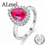 Almei 1ct Topaz Wedding Engagement <b>Rings</b> 925 <b>Sterling</b> <b>Silver</b> Zircon Finger Jewelry Accessary for Women with Gift Box 40% FJ017