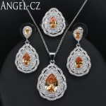 ANGELCZ 2018 African Jewelry Sets For Women High Quality Austrian Champagne Crystal <b>Sterling</b> <b>Silver</b> 925 3pcs Necklace Set AJ033