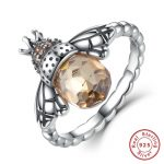 <b>rings</b> fashion cute honeybee Jewelry 925 <b>Sterling</b> <b>Silver</b> Orange Wing Animal Bee <b>Ring</b>