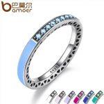 BAMOER 925 <b>Sterling</b> Engagement <b>Silver</b> Radiant Hearts <b>Ring</b> Air Blue Enamel & Sky Blue Synthetic Spinel Women <b>Ring</b> Jewelry PA7620