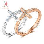 Cross adjustable <b>ring</b> s925 <b>sterling</b> <b>silver</b> mosaic <b>ring</b> Two colors
