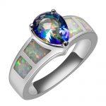 White Fire Opal With Rose Rainbow Crystal Zircon 925 <b>Sterling</b> <b>Silver</b> <b>Ring</b> Beautiful Jewelry Size 6 7 8 9 10 R1388