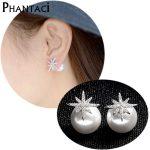 925 <b>Sterling</b> <b>Silver</b> Pearl Stud <b>Earrings</b> Zircon Flower Shape Crystal Double Side <b>Earrings</b> For Women Ladies Female Fashion Jewelry