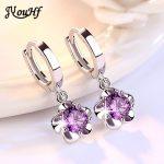 JYouHF Flower Drop <b>Earrings</b> Fashion 925 <b>Sterling</b> <b>Silver</b> White Purple CZ Zircon Crystal <b>Earrings</b> for Women Wedding Jewelry Gifts