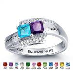 Personalized <b>Ring</b> 925 <b>Sterling</b> <b>Silver</b> Birthstone Name Engrave Romantic Anniversary Wedding Gift Mothers Day <b>Rings</b> (RI101966)