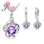 JEXXI Luxury Classic 925 <b>Sterling</b> <b>Silver</b> Rose Flower Necklace Purple Cubic Zirconia Stud <b>Earrings</b> Bride Wedding Jewelry Sets