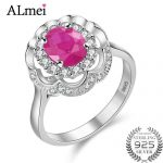 Almei Fine Gem Oval Ruby Flower Wedding <b>Ring</b> Real Pure Solid 925 <b>Sterling</b> <b>Silver</b> Women Red Zircon Jewelry with Box 10% CJ011