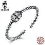 VOROCO Trendy Twisting 925 <b>Sterling</b> <b>Silver</b> <b>Rings</b> Zirconia Party Adjustable Finger Open Cuff <b>Rings</b> for Women