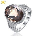 HUTANG Women's <b>Ring</b> NEW 8.37ct Natural Oval Smoky Quartz Diamond 925 <b>Sterling</b> <b>Silver</b> Jewelry Cocktail Finger <b>Ring</b> Fine Jewellery