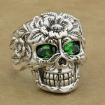 925 <b>Sterling</b> <b>Silver</b> Flower Skull <b>Ring</b> Green CZ Eyes Mens Biker punk 9W305A US 8~15
