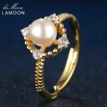 LAMOON Fashion Jewelry Adjustable 6.5mm Natural Freshwater Pearl <b>Rings</b> For Women 925 <b>Sterling</b> <b>Silver</b> Fine Jewelry <b>Ring</b> RI028