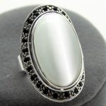 FREE SHIPPING>>>@@ unsex 17X30mm Clear Opal Oval 925 <b>Sterling</b> <b>Silver</b> Marcasite <b>Ring</b> Size 8/9/10 valentise's gift