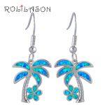 ROLILASON Perfect <b>Sterling</b> <b>Silver</b> Overlay jewelry fashion coconut tree Blue Opal Drop dangle <b>earrings</b> for women OE578