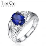 Leige Jewelry Solitaire Sapphire <b>Ring</b> 925 <b>Sterling</b> <b>Silver</b> Fine Jewelry Oval Cut Wedding <b>Rings</b> for Women September Birthstone
