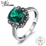 JewelryPalace Vintage 2.2ct Square Created Emerald Promise Anniversary <b>Ring</b> 925 <b>Sterling</b>–<b>Silver</b>-Jewelry For Women