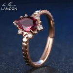 LAMOON Fine Jewelry Teardrop <b>Ring</b> Flower Natural Gemstone Garnet Women 925 <b>Sterling</b> <b>Silver</b> Inlaid Crystal Carved Wedding <b>Rings</b>