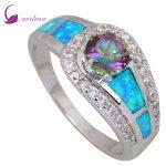 Fashion jewelry Pink Rainbow Mystic Cubic Zirconia 925 <b>Sterling</b> <b>Silver</b> Filled Wedding Party Blue opal <b>ring</b> for women R409