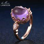 LAMOON 925 <b>Sterling</b>–<b>silver</b>-jewelry 3.5ct 100% Natural Purple Amethyst <b>Rings</b> For Women Party Cocktail Ringen Fine Jewelry RI022
