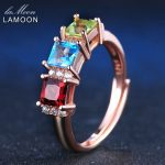 LAMOON 925 <b>sterling</b>–<b>silver</b>-jewelry <b>Rings</b> For Women 1.5ct Square Red Garnet&Green Peridot&Blue Topaz Wedding Band Bijoux LMRI010