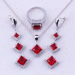 Excellent Red Created Crystal & White CZ 925 <b>Sterling</b> <b>Silver</b> Jewelry Sets Women Bridal Wedding Trend Jewelry Free Gift Box J0040