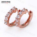 Carraton ESQD2143 Real 925 <b>Sterling</b> <b>Silver</b> CZ Rose Gold Tone Huggie <b>Earrings</b>