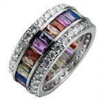 Hermosa Jewelry Rainbow Garnet Mulit Gem Stones 925 <b>Sterling</b> <b>Silver</b> <b>Ring</b> 6# 7# 8# 9# 10# 11# 12#