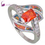 Fashion <b>Rings</b> for women Red Cubic Zirconia Garnet Opal 925 <b>Sterling</b> <b>Silver</b> Overlay jewelry size 5 6 7 8 8.5 9 R413