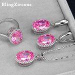 BlingZircons 925 <b>Sterling</b> <b>Silver</b> Fashion Summer Jewelry Sets Pink Austrian Crystal 3 Pcs Women Necklace Earring <b>Ring</b> Set JS020